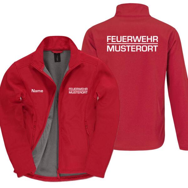 Classic Softshelljacke Herren | Feuerwehr Balken mit Ortsname Basic