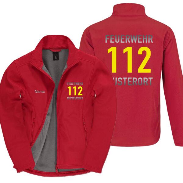 Classic Softshelljacke Herren   Feuerwehr 112 Notruf mit Ortsname