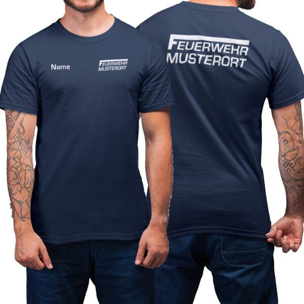 T-Shirt Männer | Feuerwehr F Balken mit Ortsname Basic