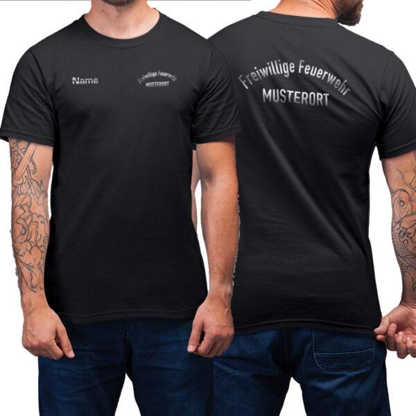 T-Shirt Männer   Freiwillige Feuerwehr gebogen mit Ortsname Basic